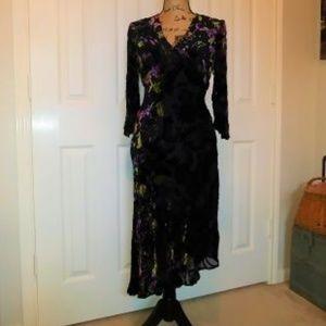 Velvet Burnout Asymmetrical Hem Dress-CLEARANCE!!$
